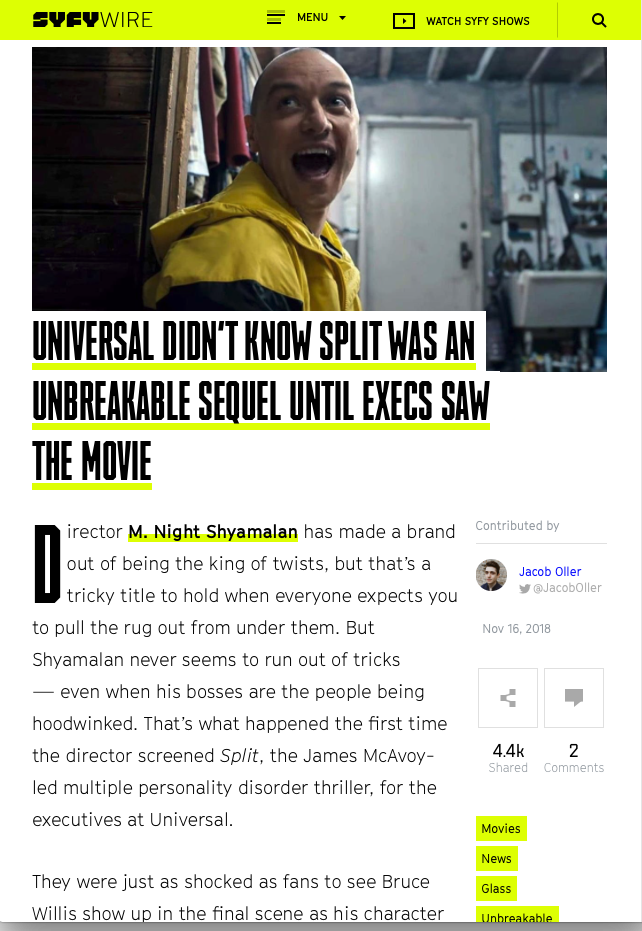 Screenshot of SYFY article with an image from Split & title of article