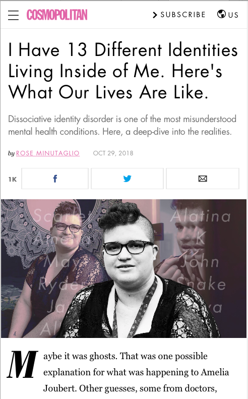 """Cosmopolitan article """"I Have 13 Different Identities Living Inside of Me. Here's What Our Lives Are Like"""" and a photo of The Labyrinth System at the top of the article."""