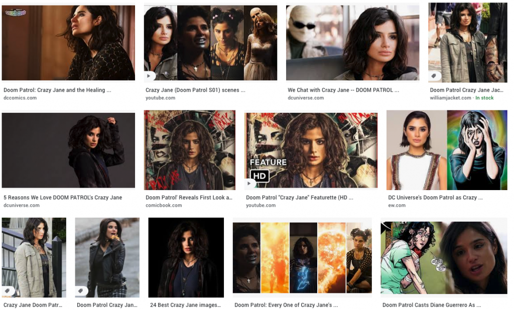 Thumbnails of Crazy Jane from Doom Patrol: via Google Images search