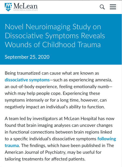 "McLean Hospital press release image titled ""Novel Neuroimaging Study on Dissociative Symptoms Reveals Wounds of Childhood Trauma"""